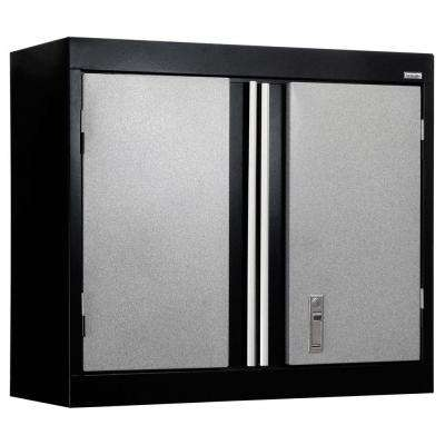 26 in. H x 30 in. W x 12 in. D Modular Steel Wall Mounted Cabinet Full Pull in Black/Multi-Granite