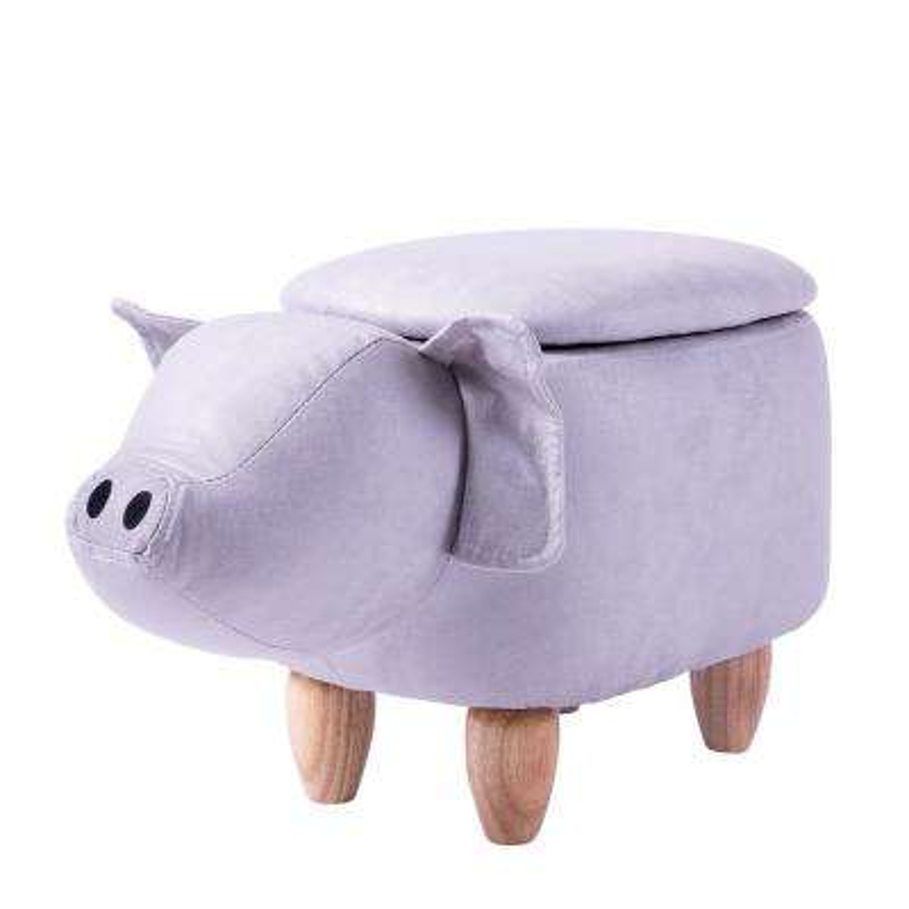 Grey Pig Animal Storage Ottoman Footrest Stool
