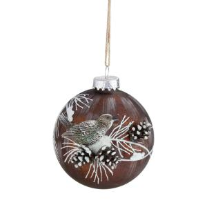 3.25 in. (80 mm) Brown Mercury Glass Ball Christmas Ornament with Bird and Pine Cones