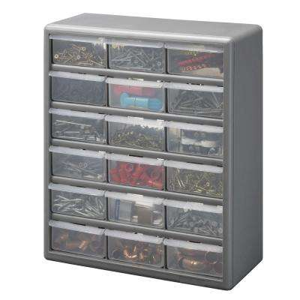 18-Compartment Gray Storage Cabinet for Small Parts Organizer