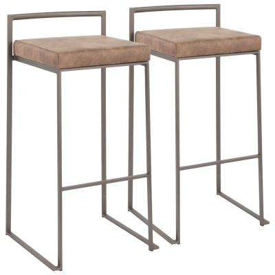 Fuji 30 in. Antique Stackable Bar Stool with Cowboy Brown Cushion (Set of 2)