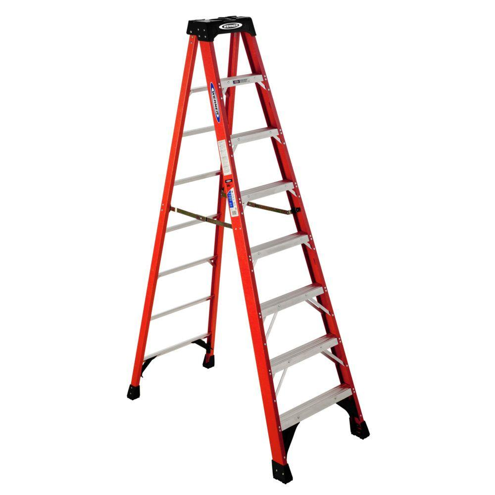 Werner 8 Ft Fiberglstep Ladder With 300 Lb Load Capacity Type Ia Duty
