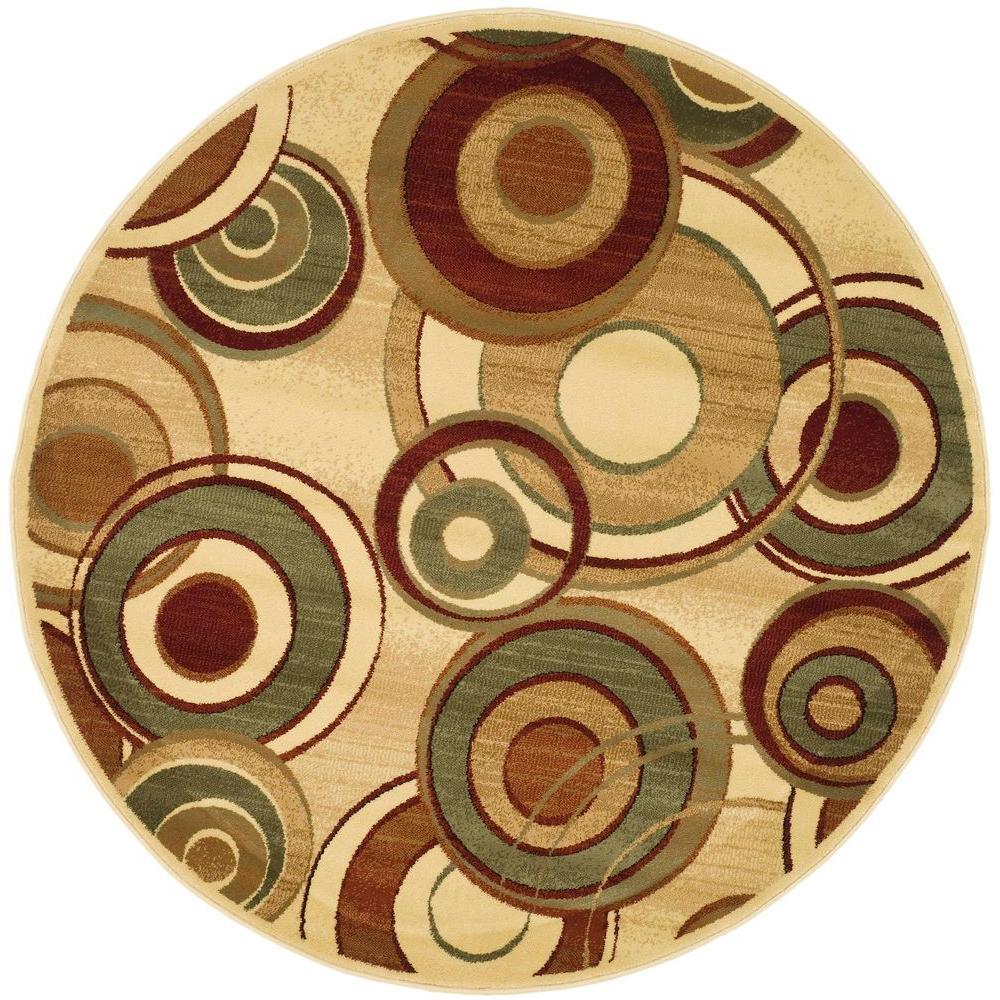 safavieh lyndhurst ivory multi 7 ft x 7 ft round area rug lnh225a 7r the home depot. Black Bedroom Furniture Sets. Home Design Ideas