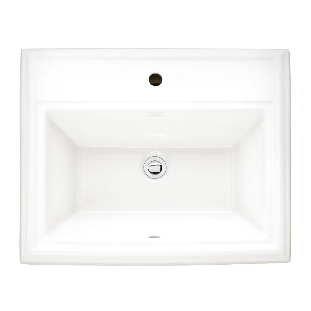 American Standard Town Square Countertop Sink with Center Hole Only in White