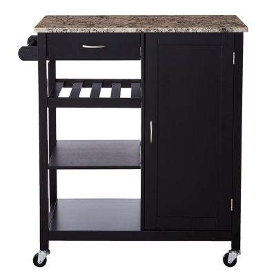 Black Wood with Marble Laminate Kitchen Storage Serving Cart