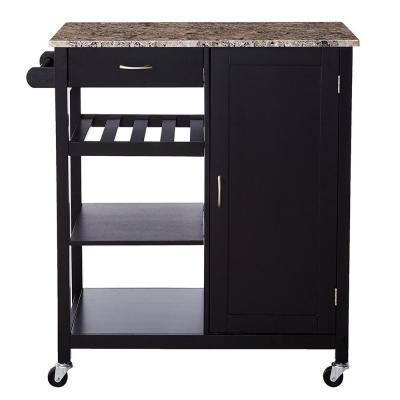 Black Kitchen Cart with Marble Laminate Top