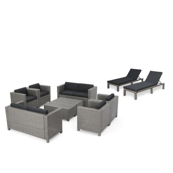 10-Piece Wicker Patio Conversation and Lounge Set with Dark Gray Cushions