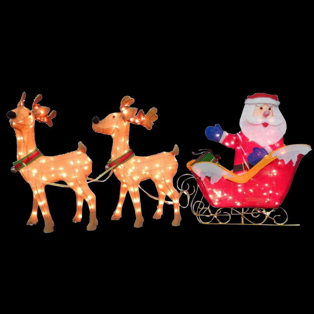Santa And Reindeer With Clear Lights