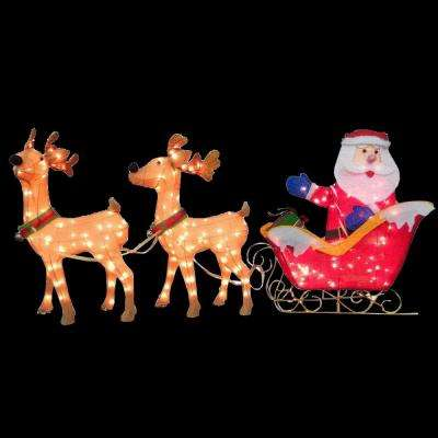 34 in. Santa and Reindeer with Clear Lights