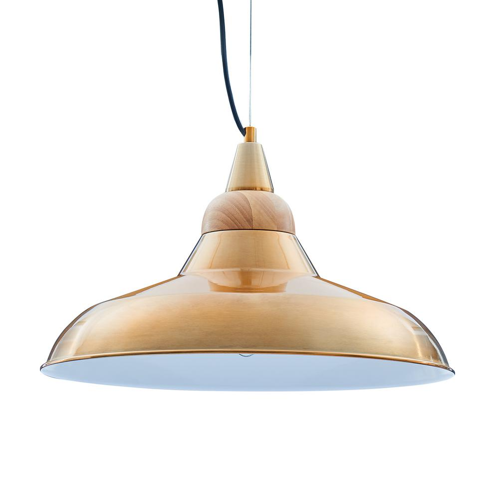 Southern Enterprises Vella 1-Light Brass and Natural Metal and Wood Pendant was $129.99 now $37.6 (71.0% off)