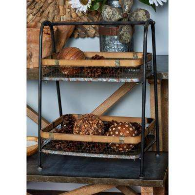 Brown Iron and Bamboo Basket Stand