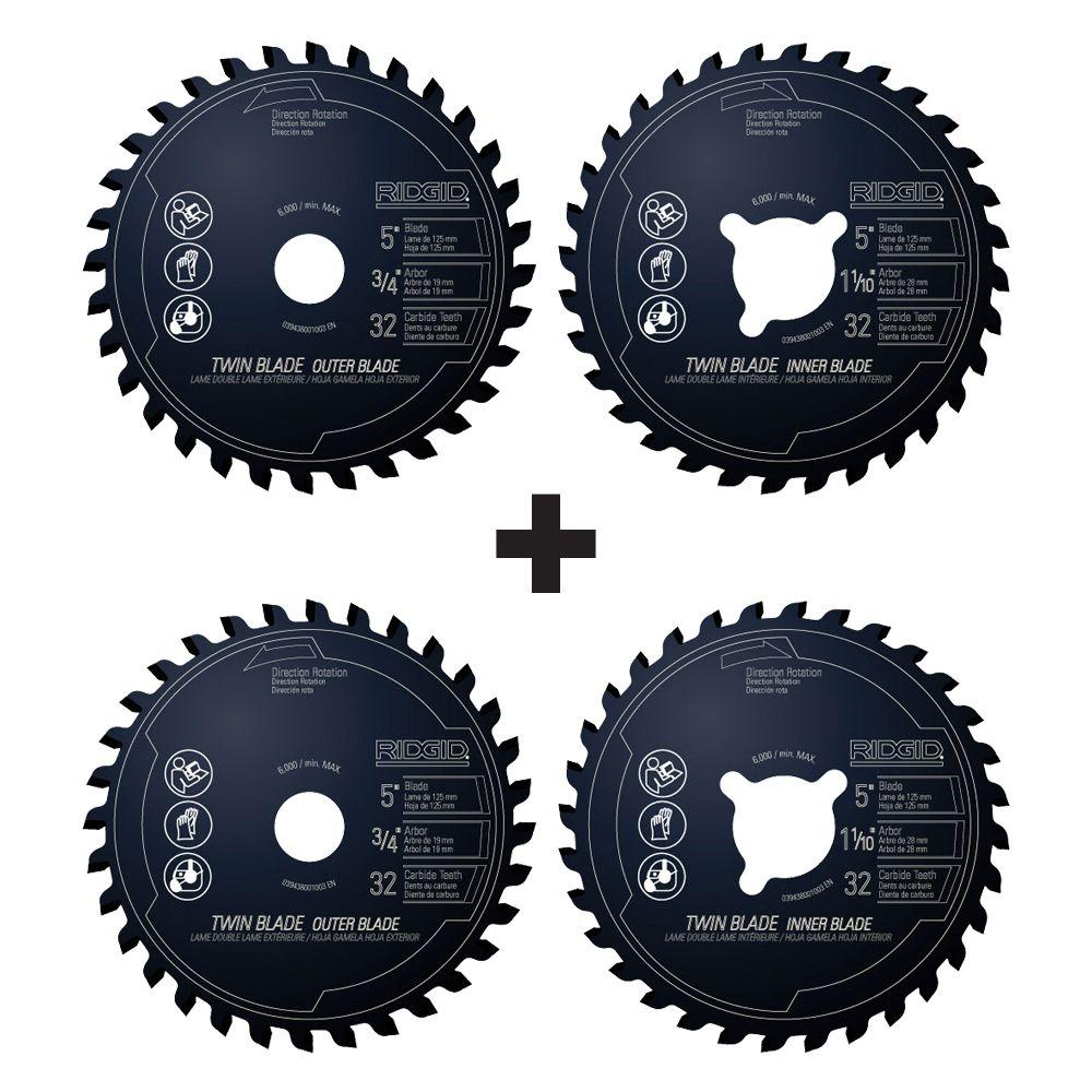 Ridgid 5 in x 32 tooth dual twin saw blade set 2 pack r0532c002 ridgid 5 in x 32 tooth dual twin saw blade set 2 greentooth Gallery