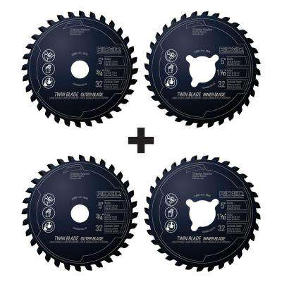 5 in. x 32-Tooth Dual Twin Saw Blade Set (2-Pack)