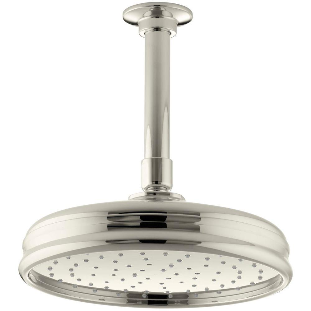 KOHLER 1-Spray Single Function 8 in. Traditional Round Rain Showerhead with Katalyst Spray in Vibrant Polished Nickel