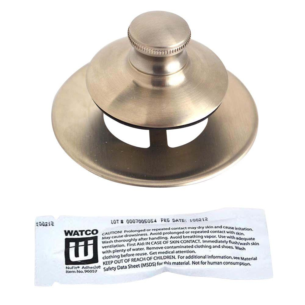 Watco Universal NuFit Push Pull Bathtub Stopper, Non-Grid Strainer and Silicone in Brushed Nickel