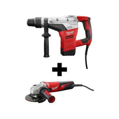 10.5 Amp Corded 1-9/16 in. SDS-Max Rotary Hammer Kit with 5 in. Small Angle Grinder with Dial Speed