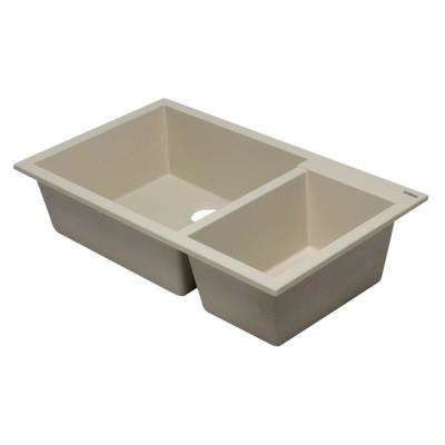 Undermount Granite Composite 33.88 in. 35/65 Double Bowl Kitchen Sink in Biscuit