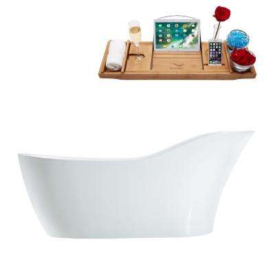 66.9 in. Acrylic Flatbottom Non-Whirlpool Bathtub in Glossy White