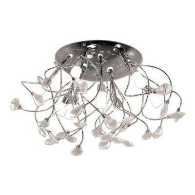 9-Light Chrome Round Ceiling Fixture with Branches and Glass Beads