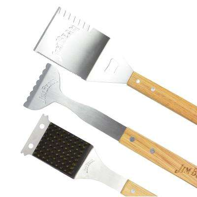 3-Piece Barbecue Tool Set with Stainless Steel Cleaning Brush 5-in-1 Spatula and a Pair of Tongs