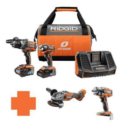 18-Volt OCTANE Lithium-Ion Cordless Brushless Combo Kit w/Bonus 4-1/2 in. Angle Grinder & 1/2 in. Impact Wrench