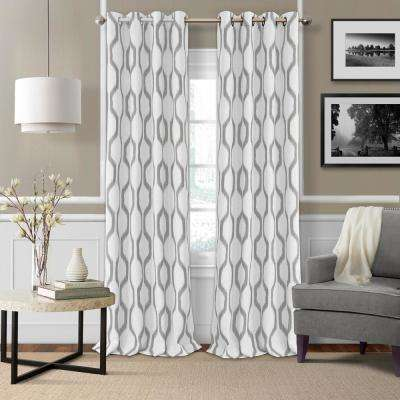 Renzo 52 in. W x 95 in. L Single Blackout Window Polyester Curtain PaneL in Light Grey