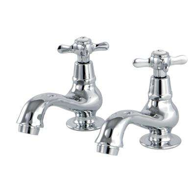 Vintage Cross Old-Fashion Basin 8 in. Widespread 2-Handle Bathroom Faucet in Polished Chrome