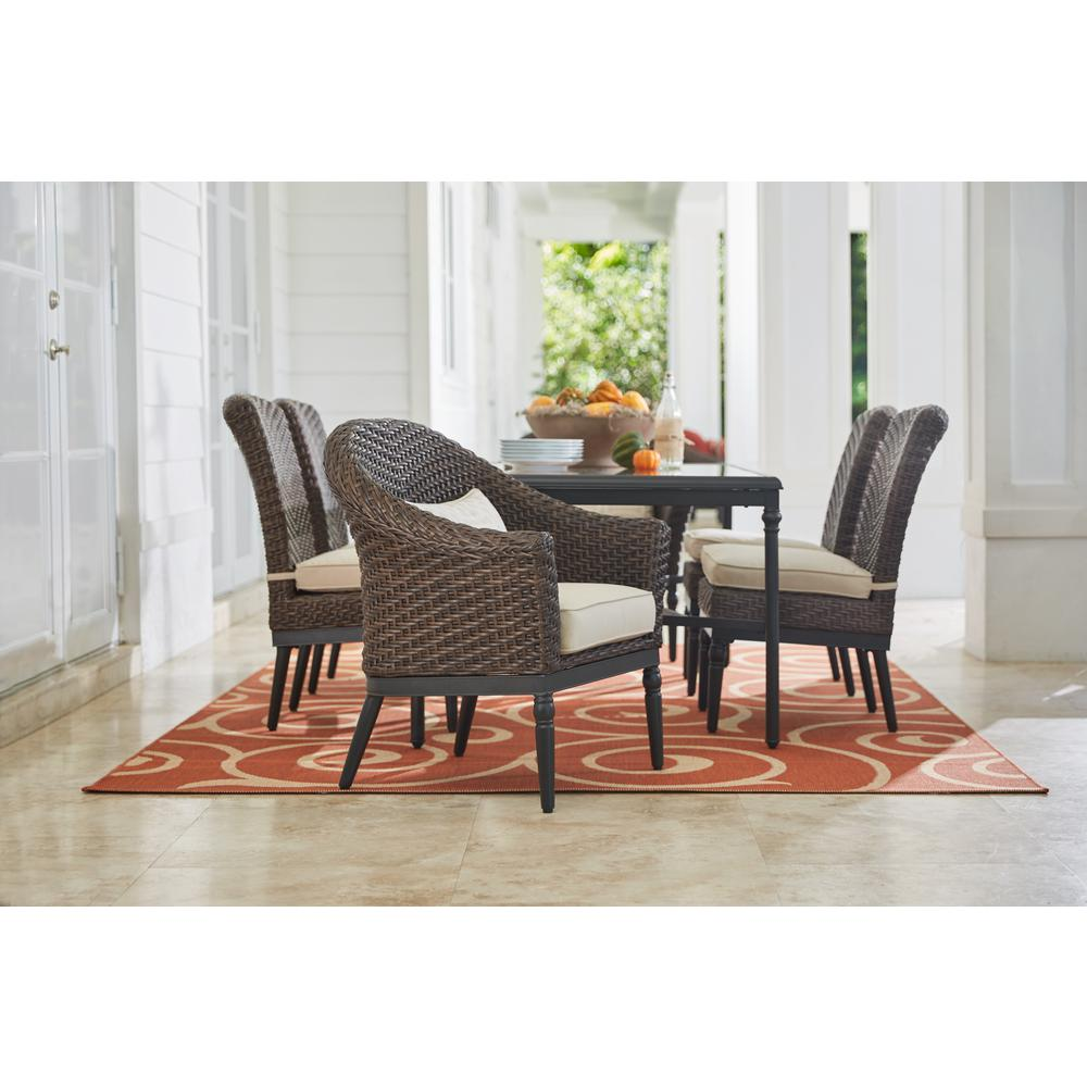 Home Decorators Collection Camden Dark Brown 7-Piece Wicker Outdoor Dining Set with Sunbrella Canvas Antique Beige Cushions