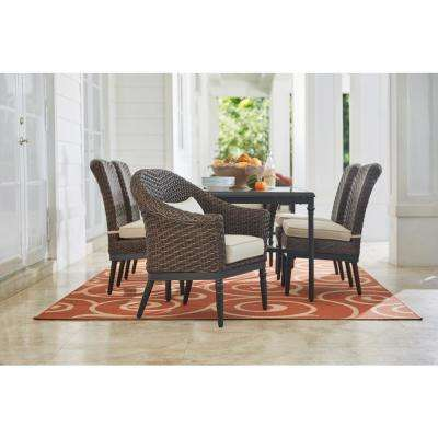 Camden 7-Piece Dark Brown Wicker Outdoor Patio Dining Set with Sunbrella Antique Beige & Fretwork Flax Cushions