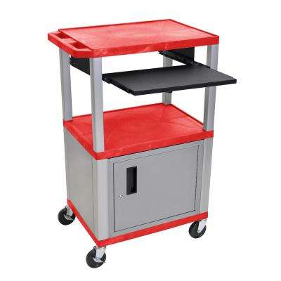WTPS 42 in. A/V Cart with Nickel Cabinet and Legs with Black Pull Out Shelf in Red Shelves