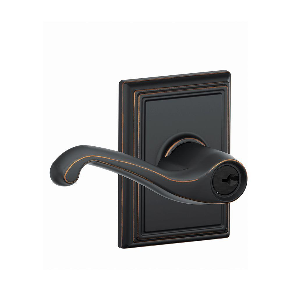 Addison Collection Aged Bronze Flair Keyed Entry Lever