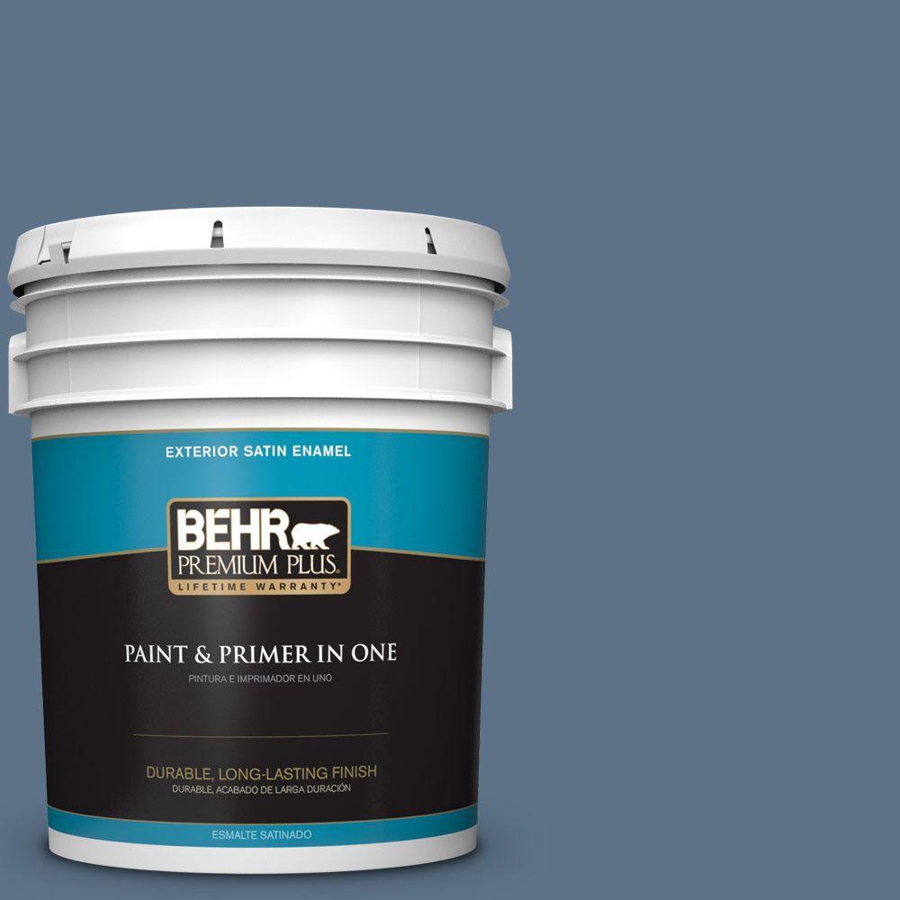 BEHR Premium Plus 5-gal. #580F-6 Lost Atlantis Satin Enamel Exterior Paint