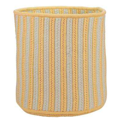 Yellow Vertical Stripe Round Basket