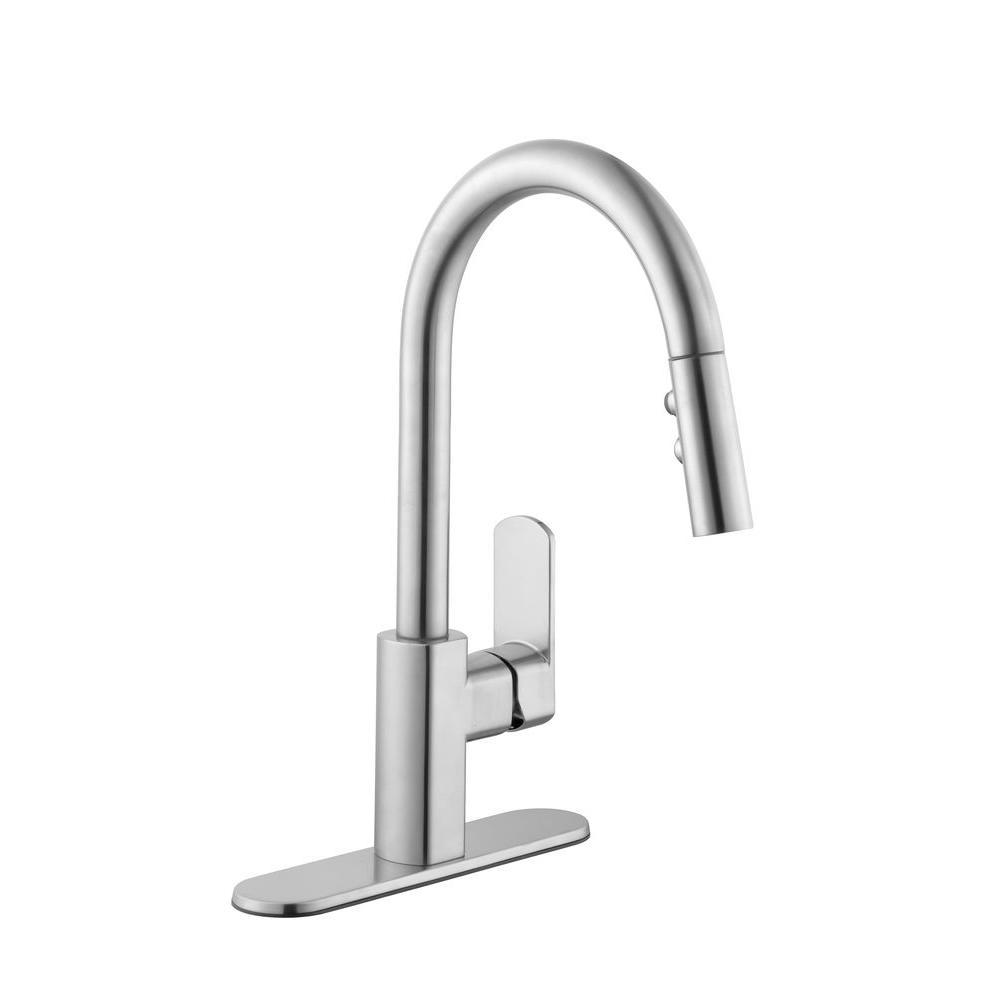 schon series pulldown sprayer kitchen faucet in chrome