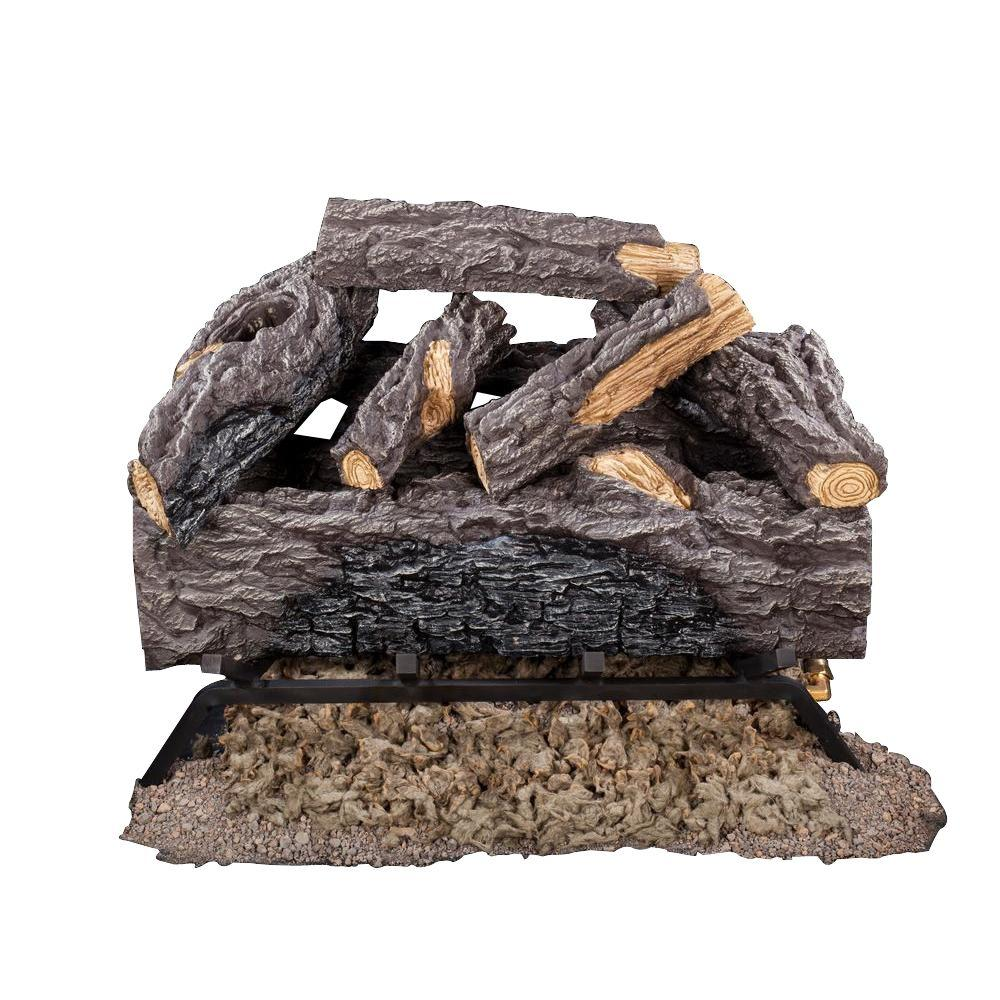 18 in. Charred River Oak Vented Natural Gas Log Set