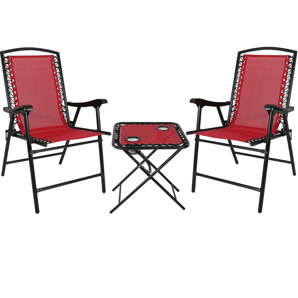 Red Sling Folding Beach Chair Set With Matching Side Table Of 2