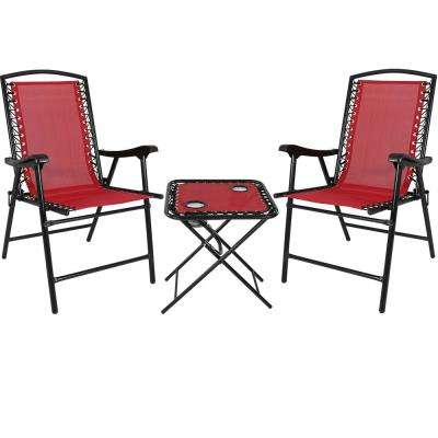 Red Sling Folding Beach Chair Set with Matching Side Table (Set of 2)