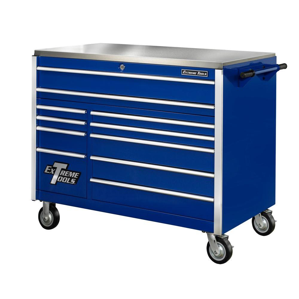 Extreme Tools 55 In 11 Drawer Professional Roller Cabinet With Stainless Steel Work Surface In Blue Ex5511rcbl The Home Depot