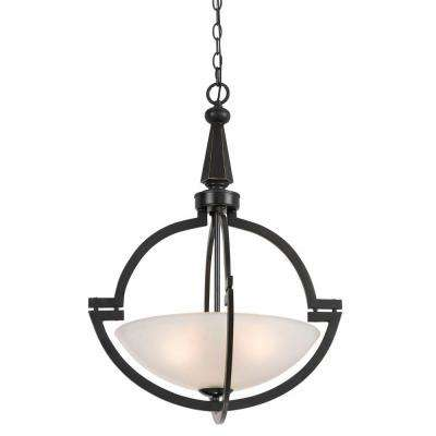 3-Light Oil Rubbed Bronze Pendant with Glass Shades