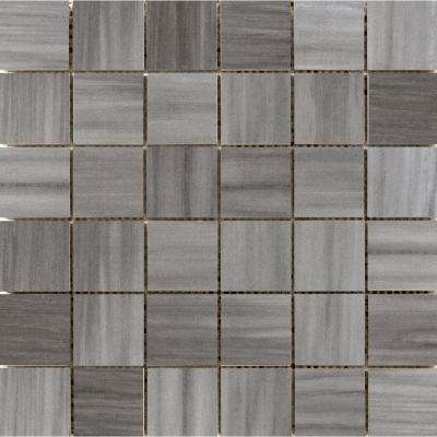 Latitude Graphite Matte 11.73 in. x 11.73 in. x 10mm Porcelain Mesh-Mounted Mosaic Tile