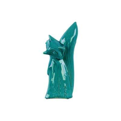 14 in. H Fox Decorative Figurine in Turquoise Gloss Distressed Finish