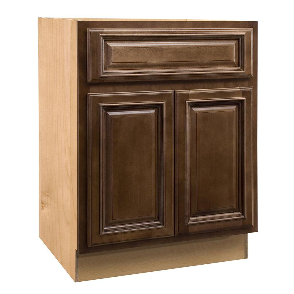 Home Decorators Collection Assembled 27x34.5x24 in. Base Cabinet with Double Doors and 2 Rollout Trays in Huntington Chocolate Glaze