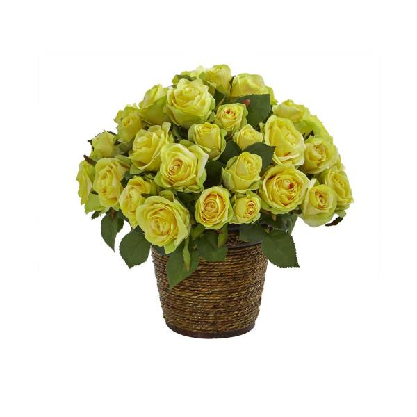 14 in. Rose Artificial Arrangement in Basket