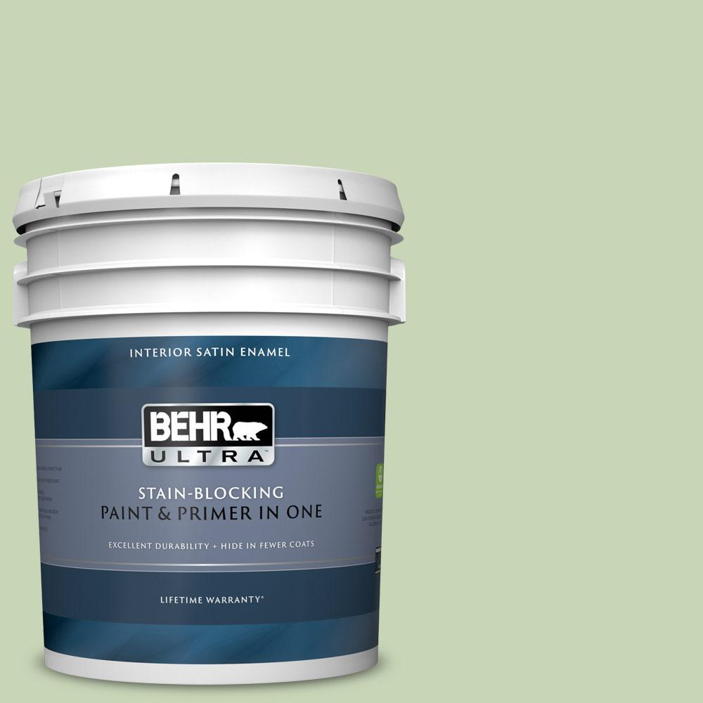 Behr Ultra 5 Gal M370 3 Spice Garden Satin Enamel Interior Paint And Primer In One 775005 The Home Depot