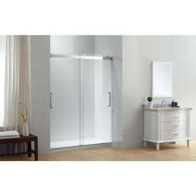 Beacon 60 in. x 78 in. Semi-Frameless Sliding Shower Door in Chrome with Handle