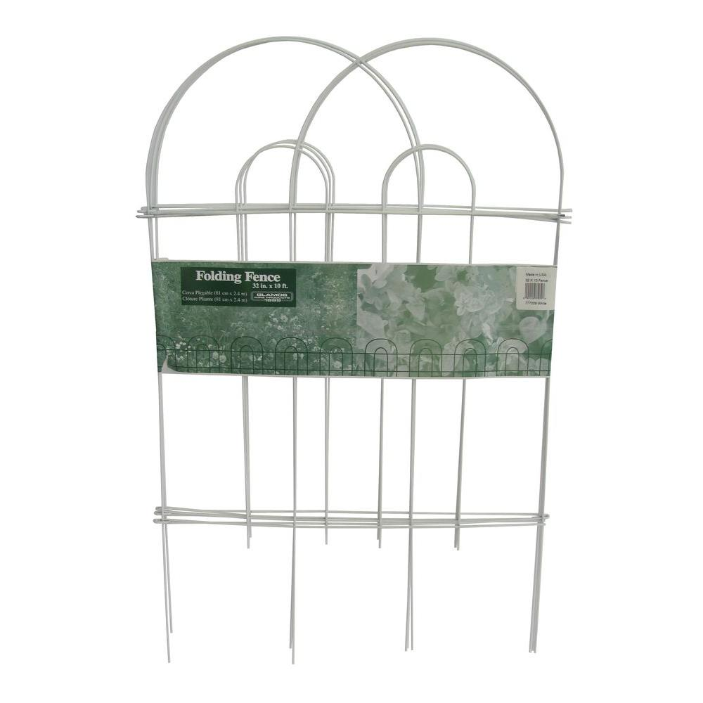 Glamos Wire Products 32 in. x 10 ft. Galvanized Steel Folding White Garden Fence (10-Pack)