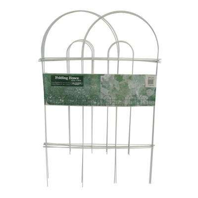 32 in. x 10 ft. Galvanized Steel Folding White Garden Fence (10-Pack)