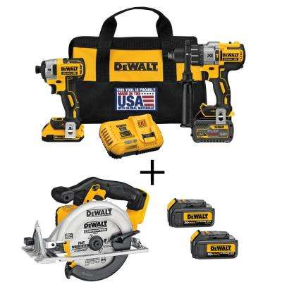 FLEXVOLT 60-Volt and 20-Volt MAX Lithium-Ion Cordless Brushless Combo Kit (2-Tool) with Bonus Circ Saw and (2) Batteries