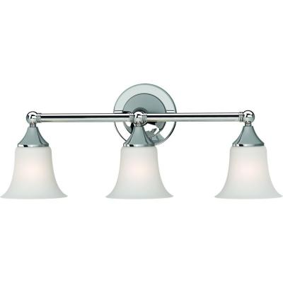 3 - Light Chrome Vanity Light with Etched White Cased Glass