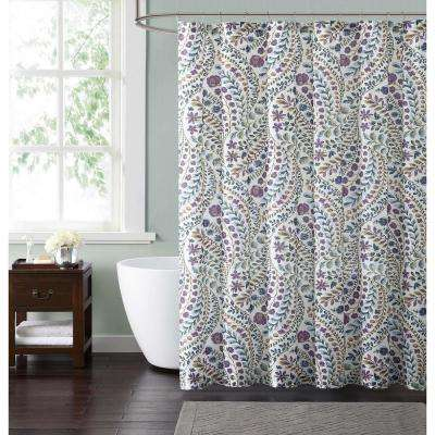 Nealy Floral 72 in. Blue and Fuschia Shower Curtain